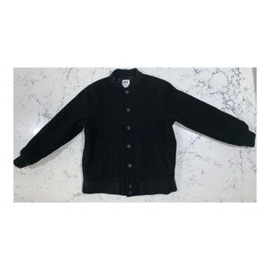 Old Navy Boys Wool Bomber Jacket, Black, Size 8